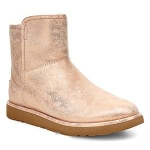 UGG Rose Gold Abree Mini Stardust Suede Boot